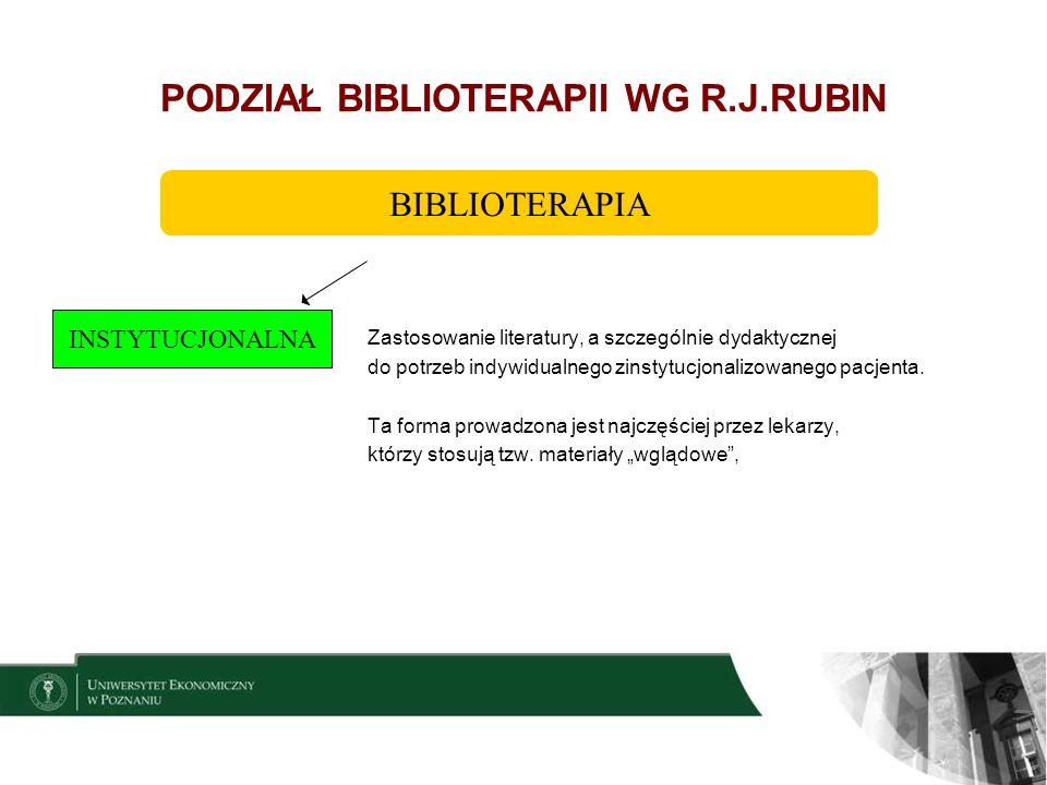 7 PODZIAŁ BIBLIOTERAPII WG R.J.RUBIN Stosowanie literatury – głównie wyobrażeniowej – w grupach osób z problemami emocjonalnymi lub behawioralnymi, Główny cel to: uzyskanie przez pacjenta zdolności wglądu w siebie i ma to doprowadzić do zmiany jego sytuacji psychologicznej.
