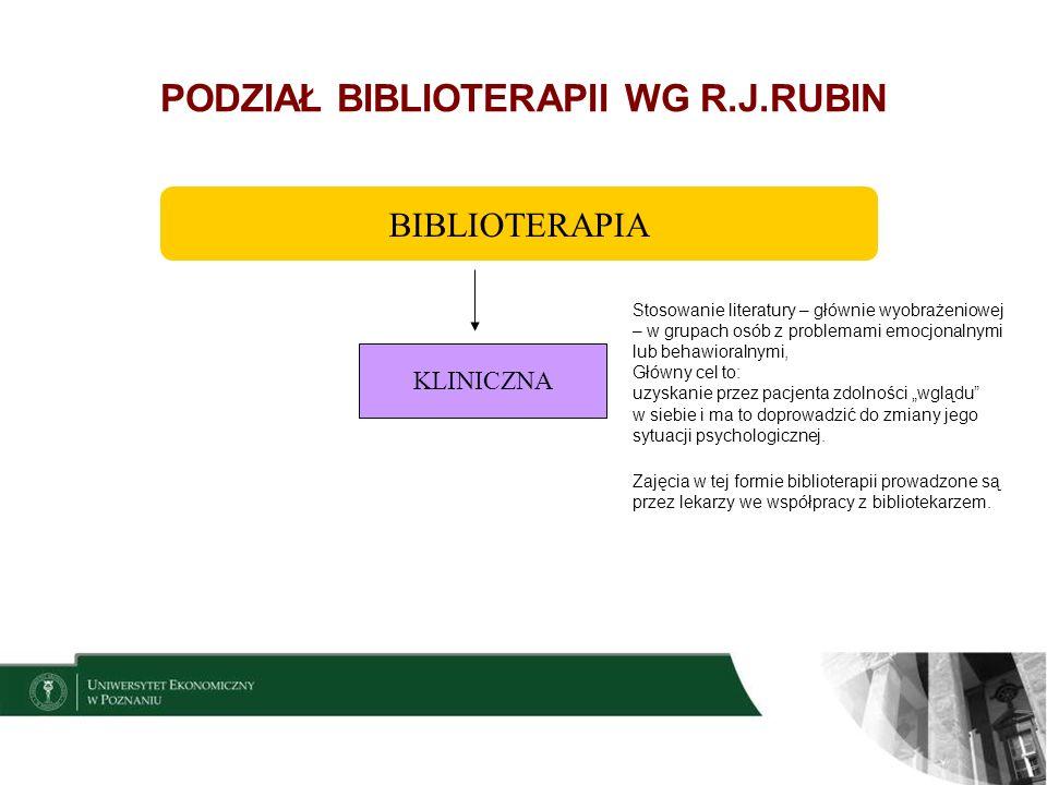 8 PODZIAŁ BIBLIOTERAPII WG R.J.RUBIN Wykorzystywane są książki wyobrażeniowe i dydaktyczne do potrzeb użytkowników zdrowych, w sensie fizycznym i psychicznym, ale mających do rozwiązania jakieś istotne dla tych odbiorców problemy.
