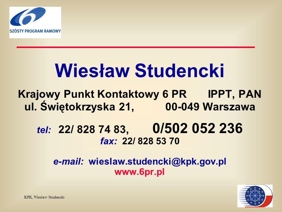 KPK, Wiesław Studencki Wiesław Studencki Krajowy Punkt Kontaktowy 6 PR IPPT, PAN ul.