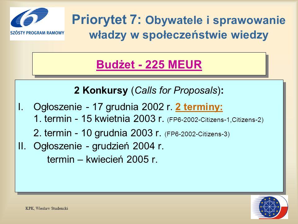 KPK, Wiesław Studencki Priorytet 7: Obywatele i sprawowanie władzy w społeczeństwie wiedzy 2 Konkursy (Calls for Proposals): I.Ogłoszenie - 17 grudnia 2002 r.