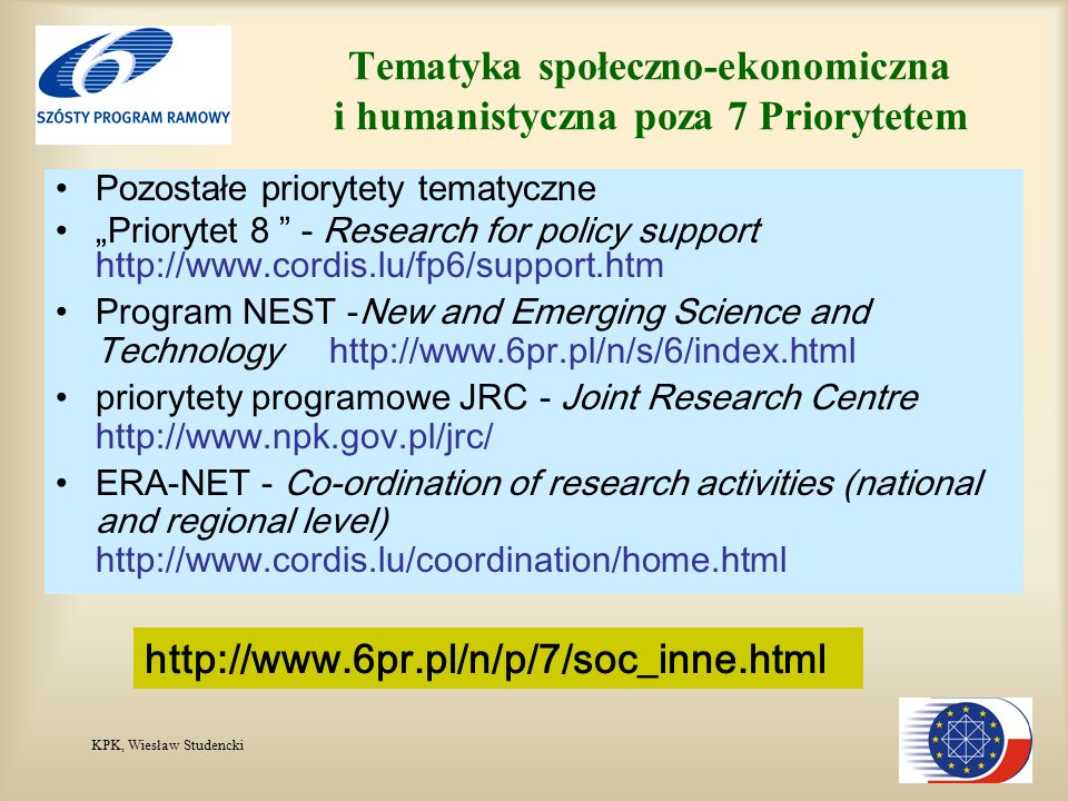 KPK, Wiesław Studencki Tematyka społeczno-ekonomiczna i humanistyczna poza 7 Priorytetem Pozostałe priorytety tematyczne Priorytet 8 - Research for policy support http://www.cordis.lu/fp6/support.htm Program NEST -New and Emerging Science and Technology http://www.6pr.pl/n/s/6/index.html priorytety programowe JRC - Joint Research Centre http://www.npk.gov.pl/jrc/ ERA-NET - Co-ordination of research activities (national and regional level) http://www.cordis.lu/coordination/home.html http://www.6pr.pl/n/p/7/soc_inne.html