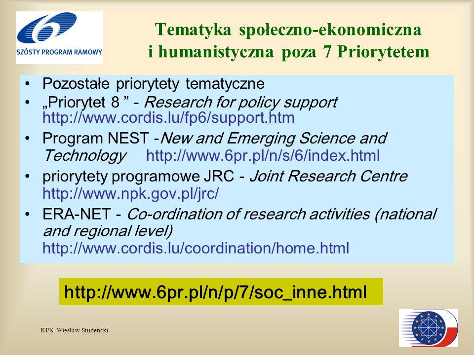 KPK, Wiesław Studencki Tematyka społeczno-ekonomiczna i humanistyczna poza 7 Priorytetem Pozostałe priorytety tematyczne Priorytet 8 - Research for po
