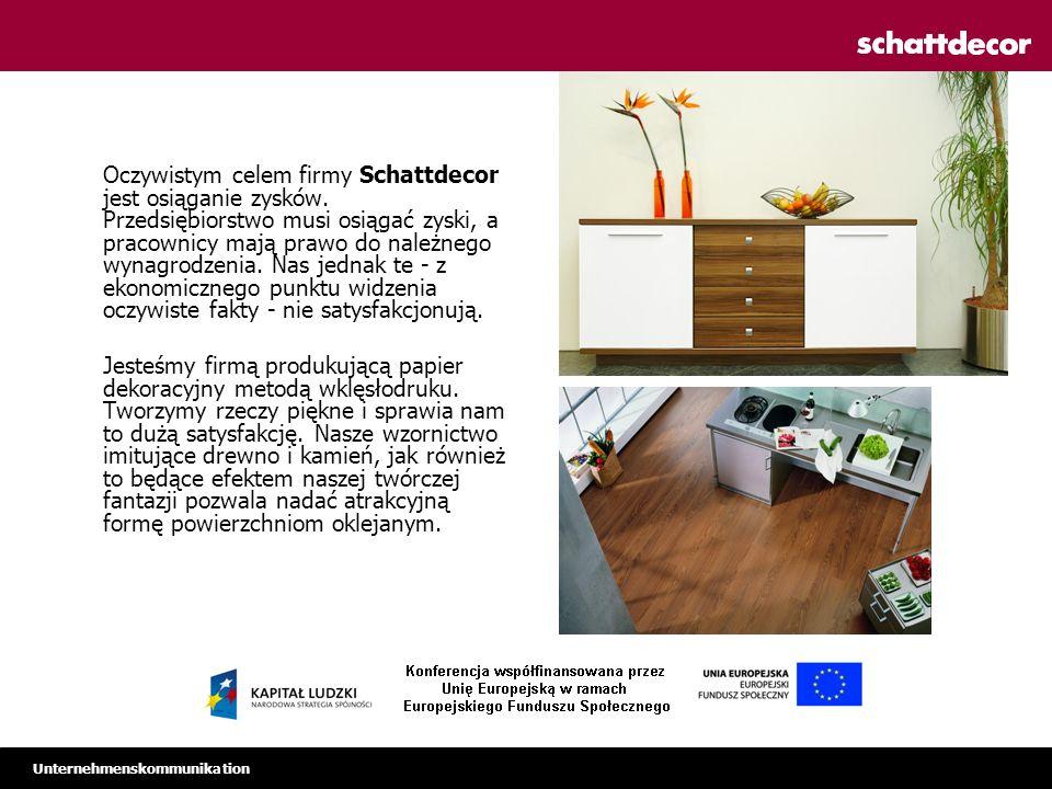 Unternehmenskommunikation Międzynarodowa grupa projektantów Formułowanie tematów trendowych Prezentacje podczas targów > 1.000 wzorów –reprodukcje drewna –imitacje kamienia –dekory fantazyjne > 10.000 wybarwień kolorystycznych