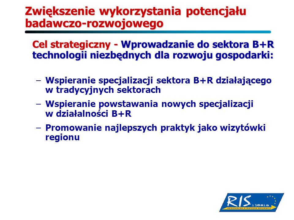 Zwiększenie wykorzystania potencjału badawczo-rozwojowego Cel strategiczny - Wprowadzanie do sektora B+R technologii niezbędnych dla rozwoju gospodark
