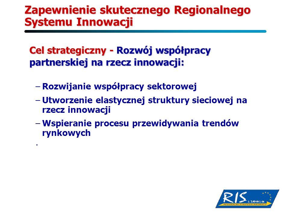 Zapewnienie skutecznego Regionalnego Systemu Innowacji Cel strategiczny - Rozwój współpracy partnerskiej na rzecz innowacji: –Rozwijanie współpracy se