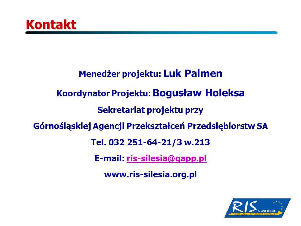 Kontakt Menedżer projektu: Luk Palmen Koordynator Projektu: Bogusław Holeksa Sekretariat projektu przy Górnośląskiej Agencji Przekształceń Przedsiębio
