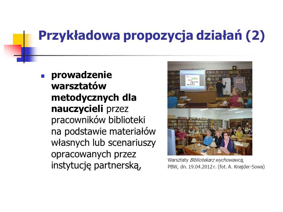 Przykładowa propozycja działań (2) prowadzenie warsztatów metodycznych dla nauczycieli przez pracowników biblioteki na podstawie materiałów własnych lub scenariuszy opracowanych przez instytucję partnerską, Warsztaty Bibliotekarz wychowawcą, PBW, dn.