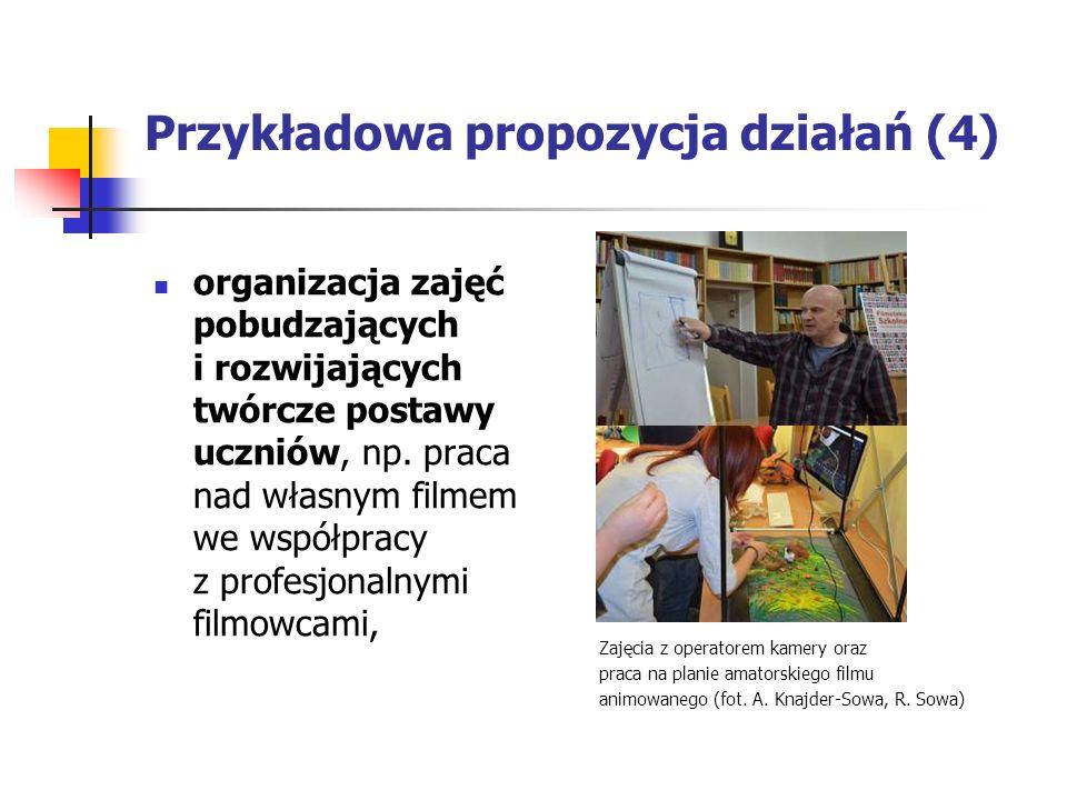 Przykładowa propozycja działań (4) organizacja zajęć pobudzających i rozwijających twórcze postawy uczniów, np.