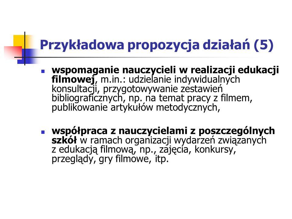 Przykładowa propozycja działań (5) wspomaganie nauczycieli w realizacji edukacji filmowej, m.in.: udzielanie indywidualnych konsultacji, przygotowywanie zestawień bibliograficznych, np.