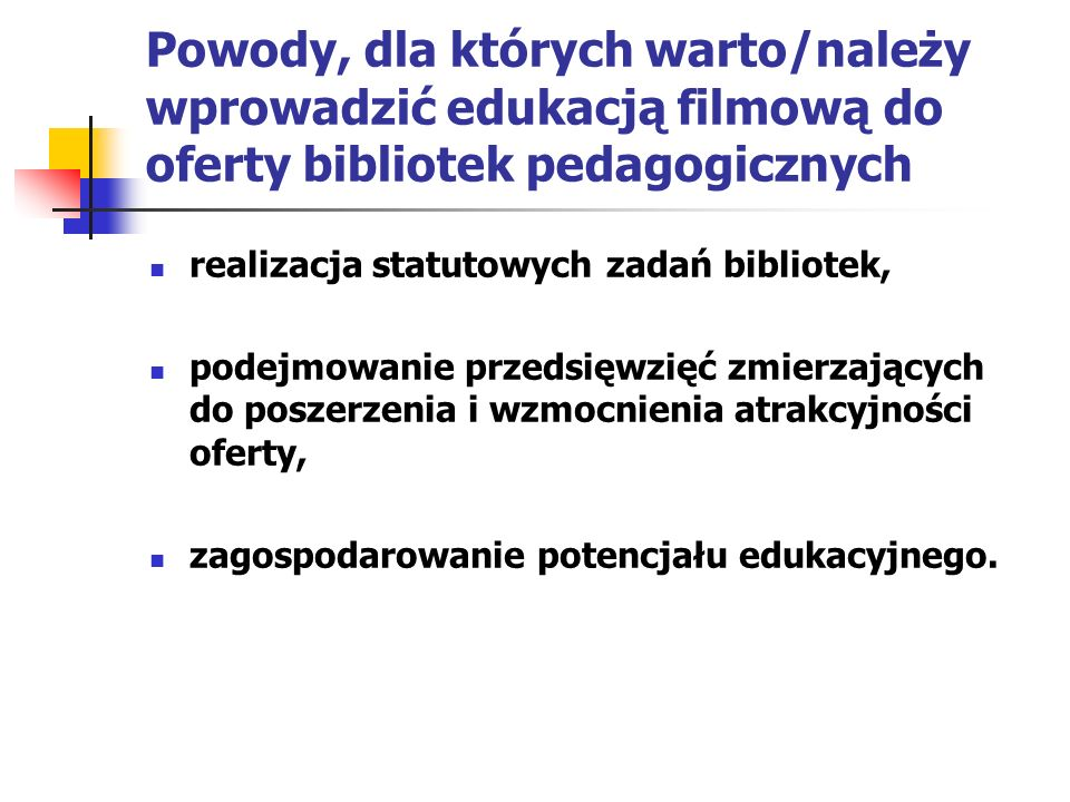 Realizacja statutowych zadań bibliotek pedagogicznych wspieranie nauczycieli w realizacji zajęć dydaktycznych i wychowawczych, organizowanie doskonalenia zawodowego bibliotekarzy szkolnych, kształtowanie kompetencji medialnych uczniów.