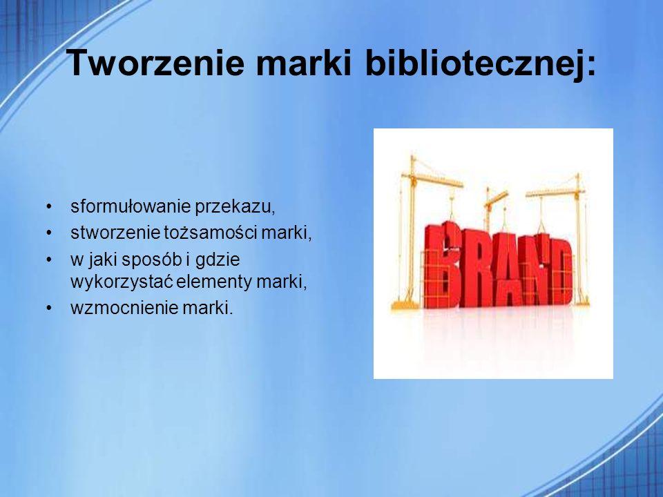 Tworzenie marki bibliotecznej: sformułowanie przekazu, stworzenie tożsamości marki, w jaki sposób i gdzie wykorzystać elementy marki, wzmocnienie mark