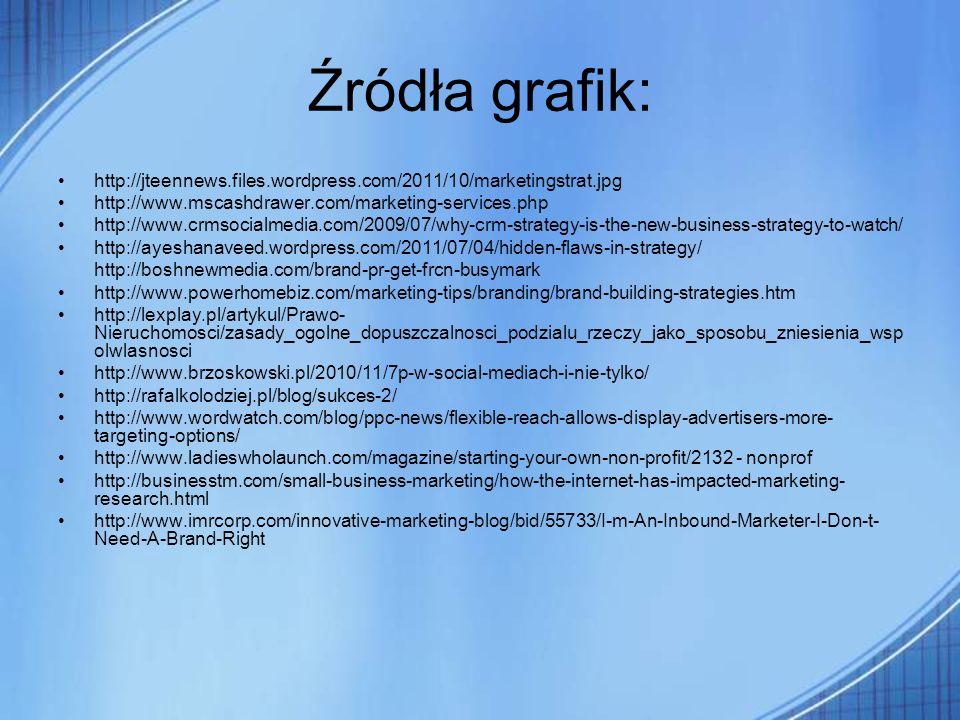 Źródła grafik: http://jteennews.files.wordpress.com/2011/10/marketingstrat.jpg http://www.mscashdrawer.com/marketing-services.php http://www.crmsocial
