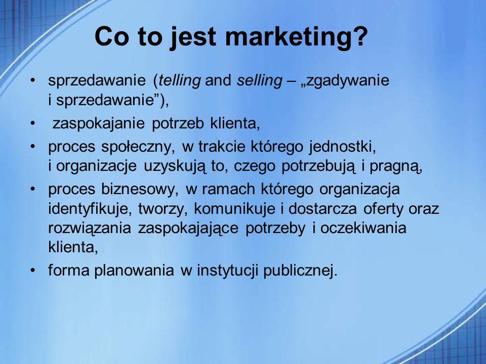 Co to jest marketing? sprzedawanie (telling and selling – zgadywanie i sprzedawanie), zaspokajanie potrzeb klienta, proces społeczny, w trakcie któreg