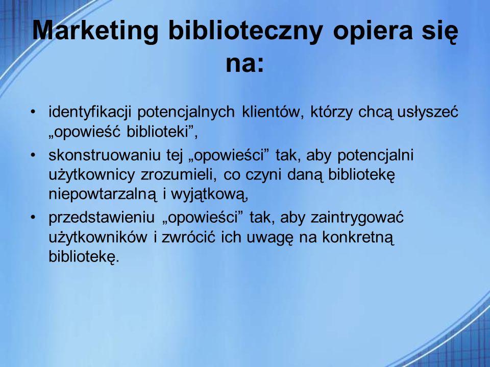 Marketing biblioteczny opiera się na: identyfikacji potencjalnych klientów, którzy chcą usłyszeć opowieść biblioteki, skonstruowaniu tej opowieści tak