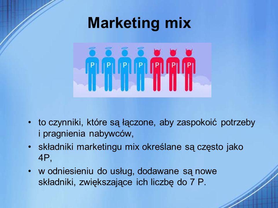 Marketing mix to czynniki, które są łączone, aby zaspokoić potrzeby i pragnienia nabywców, składniki marketingu mix określane są często jako 4P, w odn