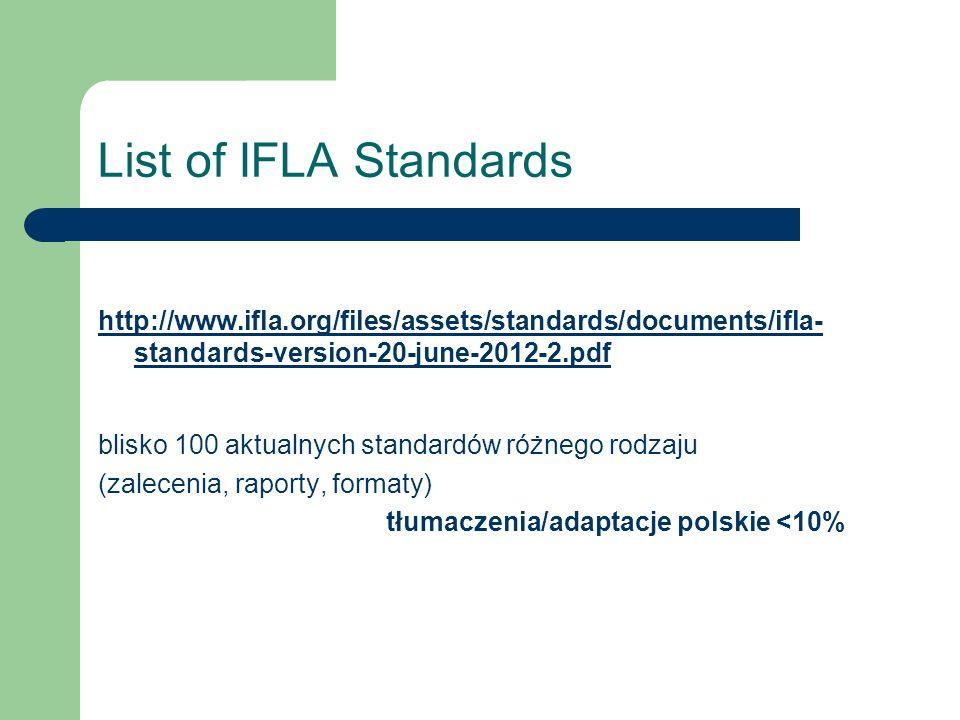 List of IFLA Standards http://www.ifla.org/files/assets/standards/documents/ifla- standards-version-20-june-2012-2.pdf blisko 100 aktualnych standardó