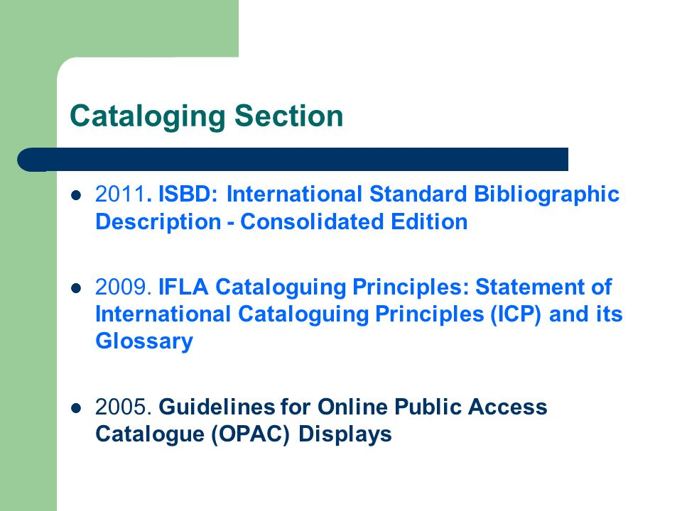 Cataloging Section 2011.