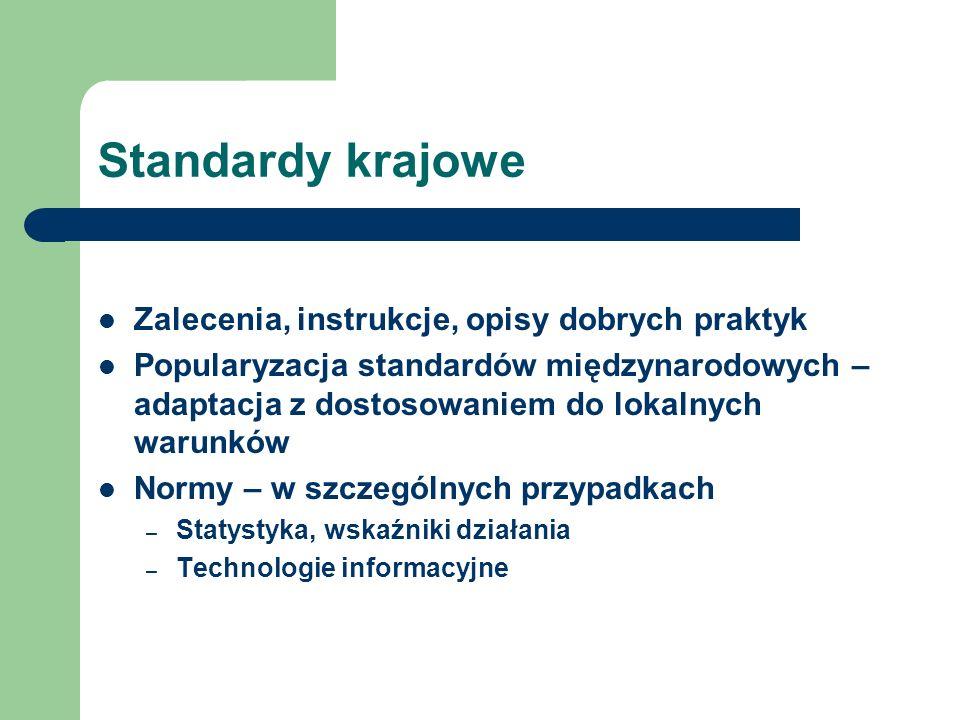 Standardy krajowe Zalecenia, instrukcje, opisy dobrych praktyk Popularyzacja standardów międzynarodowych – adaptacja z dostosowaniem do lokalnych waru