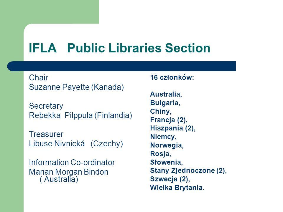 IFLA Public Libraries Section Chair Suzanne Payette (Kanada) Secretary Rebekka Pilppula (Finlandia) Treasurer Libuse Nivnická (Czechy) Information Co-