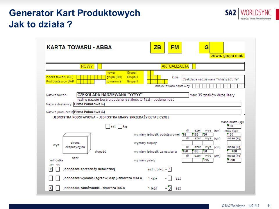 © SA2 Worldsync 14/01/14 11 Generator Kart Produktowych Jak to działa