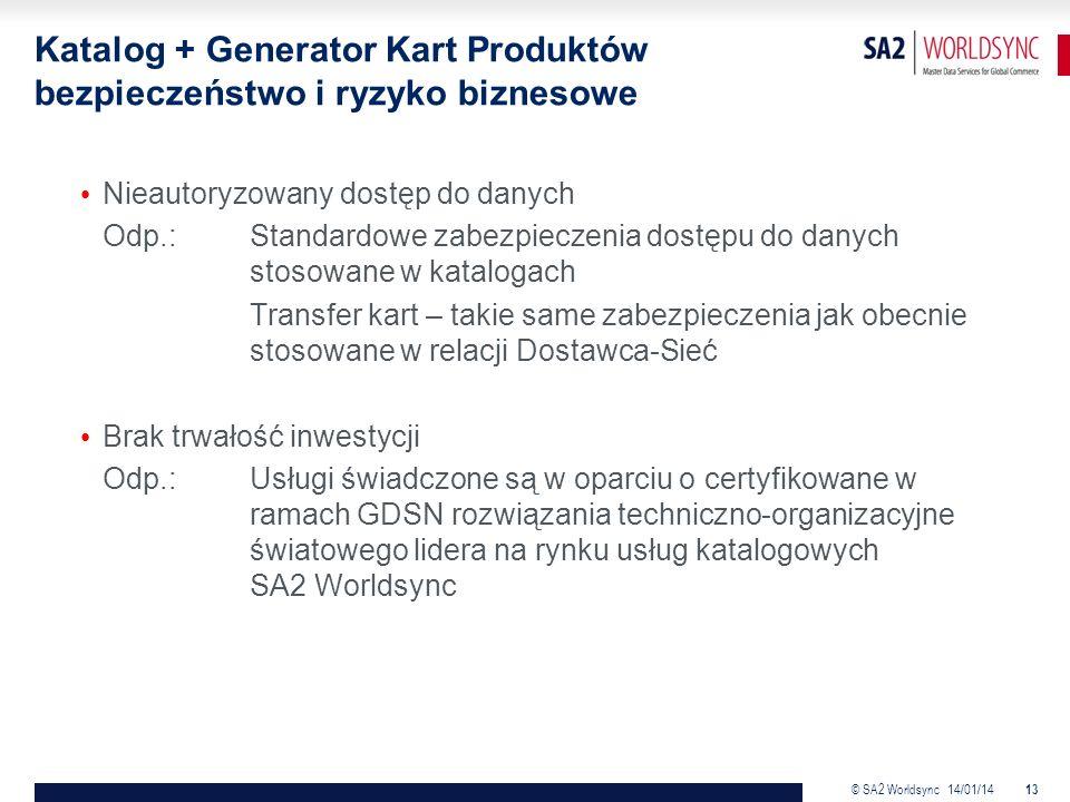 © SA2 Worldsync 14/01/14 13 Katalog + Generator Kart Produktów bezpieczeństwo i ryzyko biznesowe Nieautoryzowany dostęp do danych Odp.: Standardowe zabezpieczenia dostępu do danych stosowane w katalogach Transfer kart – takie same zabezpieczenia jak obecnie stosowane w relacji Dostawca-Sieć Brak trwałość inwestycji Odp.:Usługi świadczone są w oparciu o certyfikowane w ramach GDSN rozwiązania techniczno-organizacyjne światowego lidera na rynku usług katalogowych SA2 Worldsync