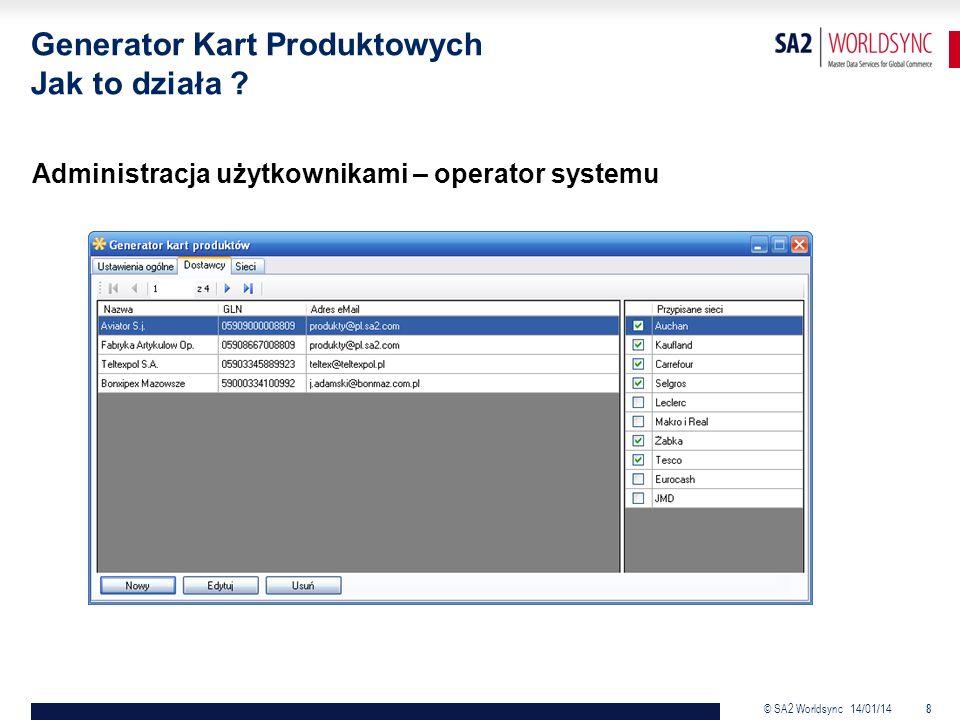 © SA2 Worldsync 14/01/14 8 Administracja użytkownikami – operator systemu Generator Kart Produktowych Jak to działa