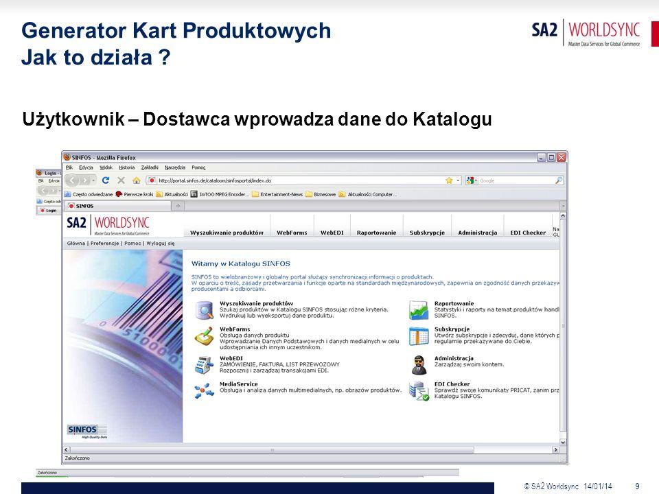 © SA2 Worldsync 14/01/14 9 Użytkownik – Dostawca wprowadza dane do Katalogu Generator Kart Produktowych Jak to działa