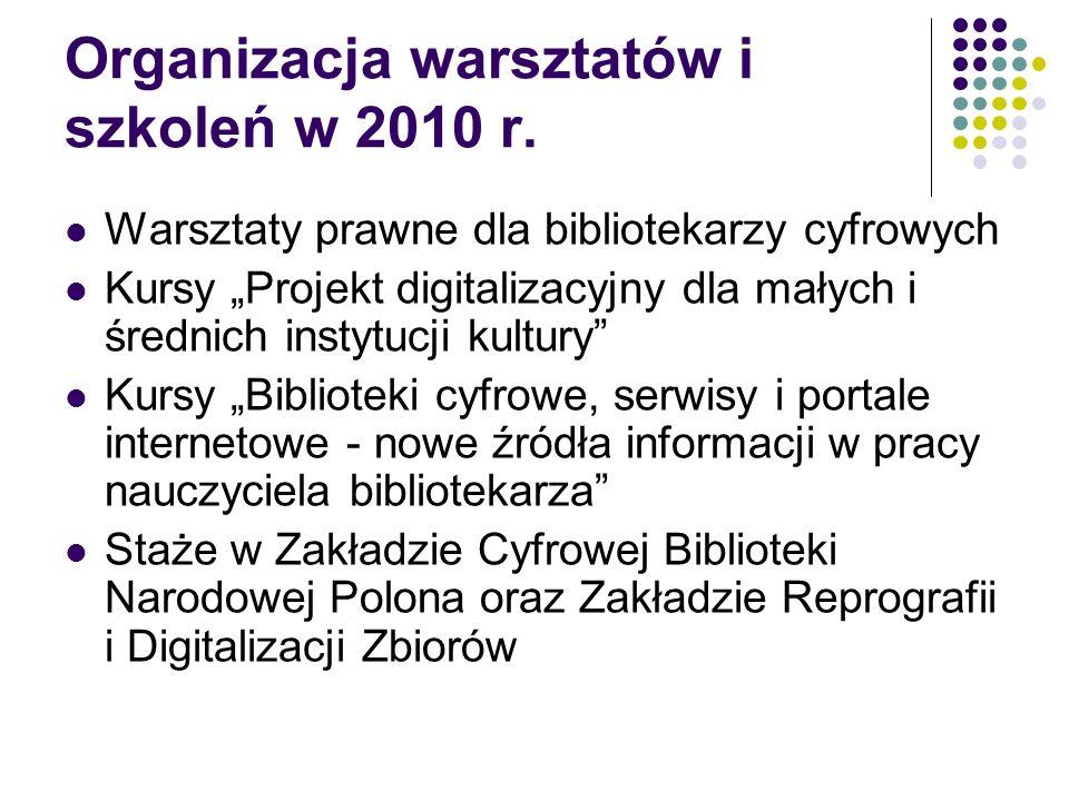 Organizacja warsztatów i szkoleń w 2010 r. Warsztaty prawne dla bibliotekarzy cyfrowych Kursy Projekt digitalizacyjny dla małych i średnich instytucji