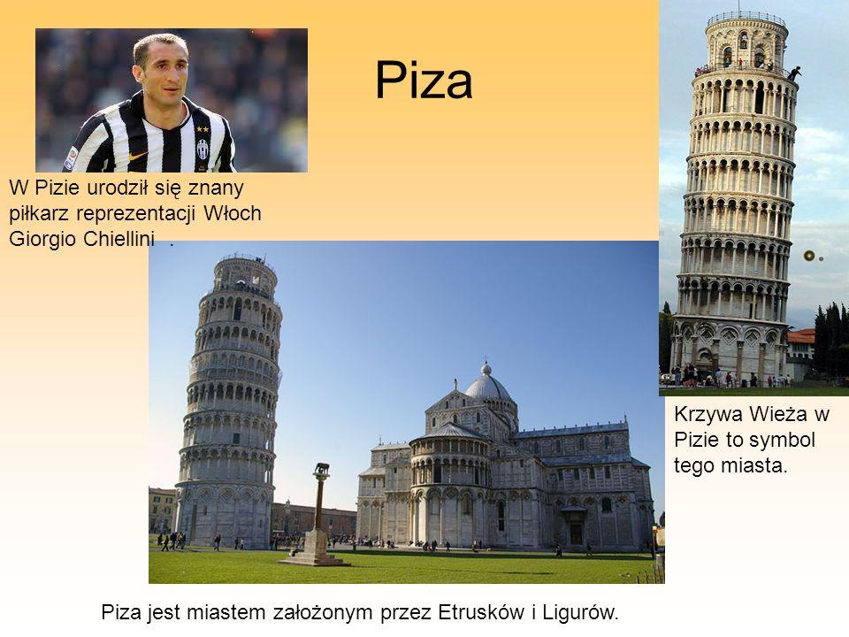 Piza Piza jest miastem założonym przez Etrusków i Ligurów. W Pizie urodził się znany piłkarz reprezentacji Włoch Giorgio Chiellini. Krzywa Wieża w Piz