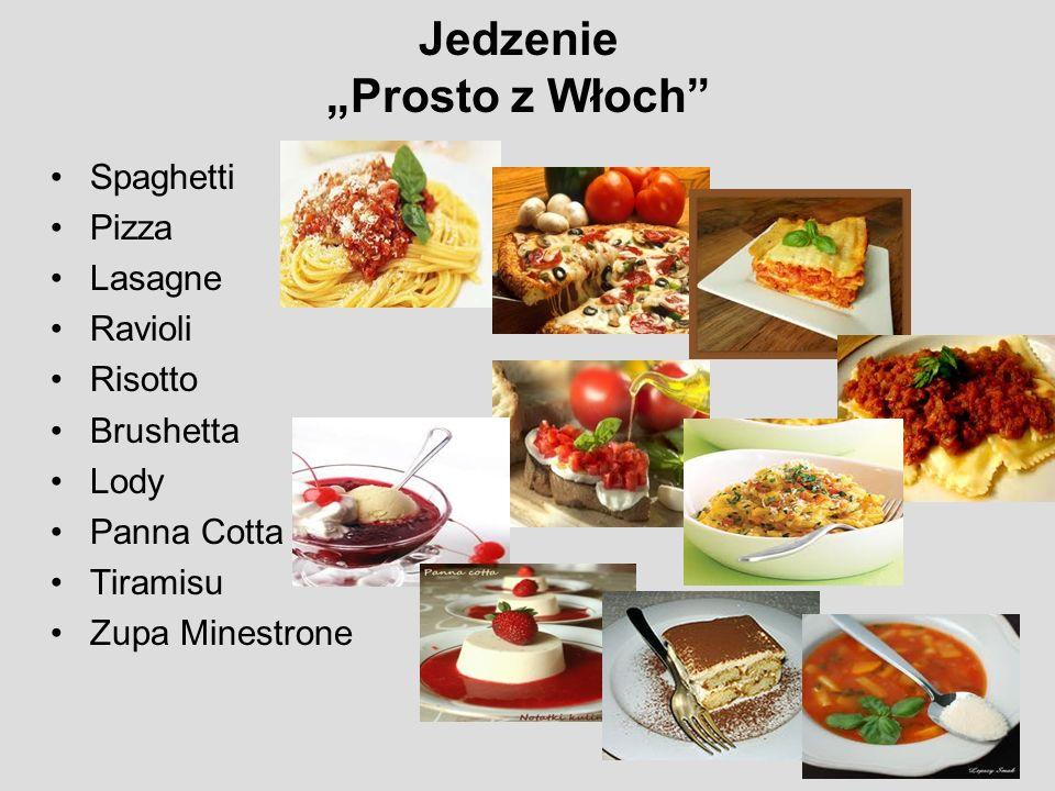 Jedzenie Prosto z Włoch Spaghetti Pizza Lasagne Ravioli Risotto Brushetta Lody Panna Cotta Tiramisu Zupa Minestrone