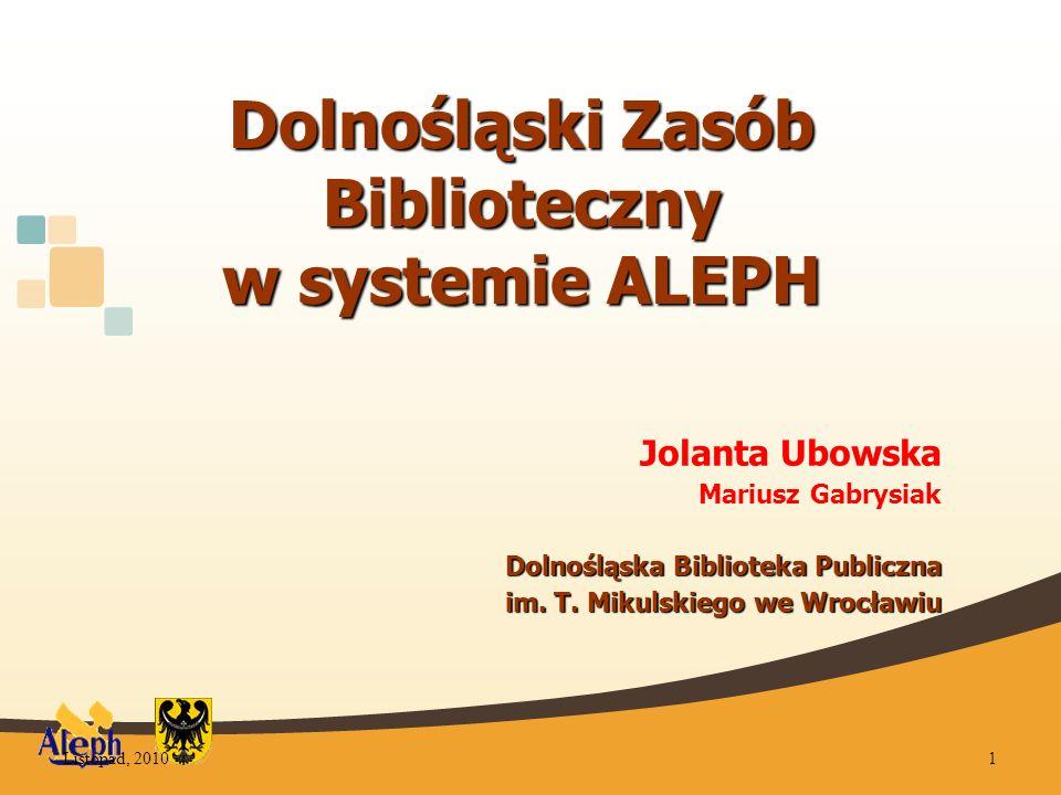 Dolnośląski Zasób Biblioteczny w systemie ALEPH Jolanta Ubowska Mariusz Gabrysiak Dolnośląska Biblioteka Publiczna im.