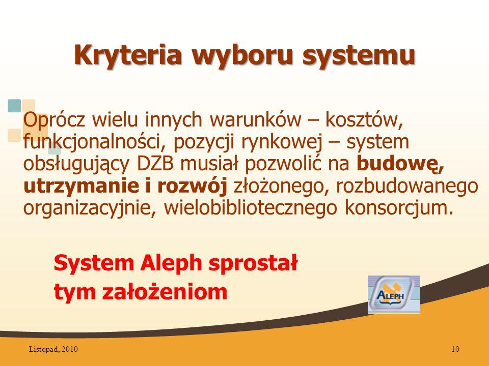 Kryteria wyboru systemu Oprócz wielu innych warunków – kosztów, funkcjonalności, pozycji rynkowej – system obsługujący DZB musiał pozwolić na budowę, utrzymanie i rozwój złożonego, rozbudowanego organizacyjnie, wielobibliotecznego konsorcjum.