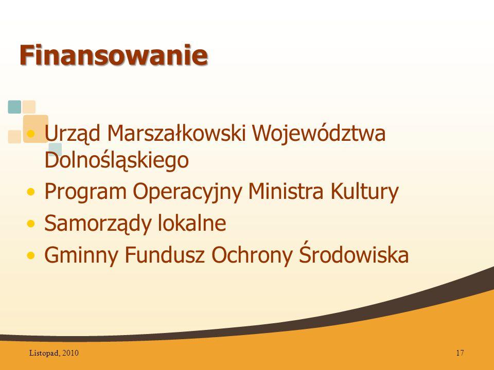Finansowanie Urząd Marszałkowski Województwa Dolnośląskiego Program Operacyjny Ministra Kultury Samorządy lokalne Gminny Fundusz Ochrony Środowiska Listopad, 201017