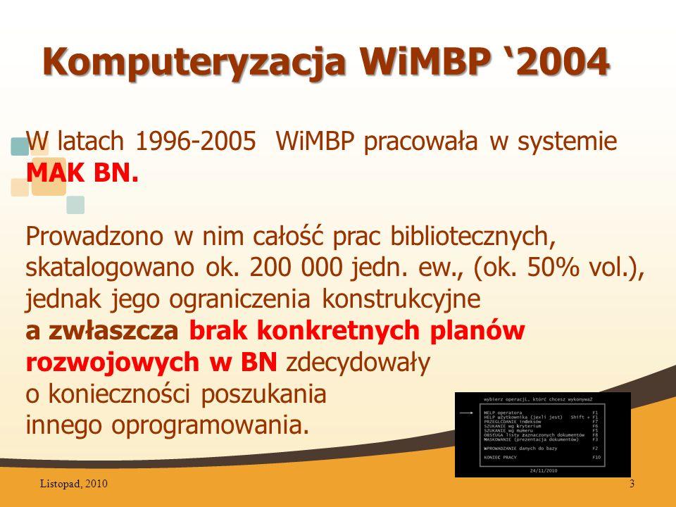 Komputeryzacja WiMBP 2004 W latach 1996-2005 WiMBP pracowała w systemie MAK BN.