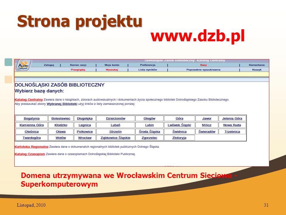Domena utrzymywana we Wrocławskim Centrum Sieciowo - Superkomputerowym Strona projektu www.dzb.pl Listopad, 201031