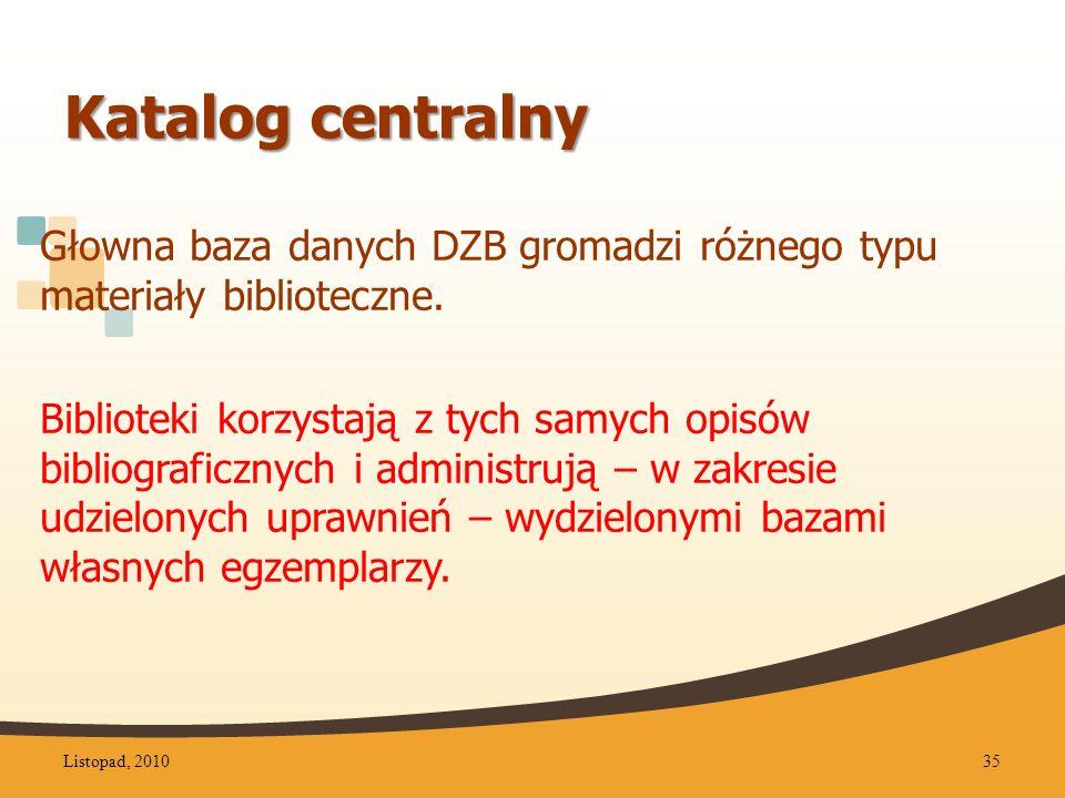 Katalog centralny Głowna baza danych DZB gromadzi różnego typu materiały biblioteczne.