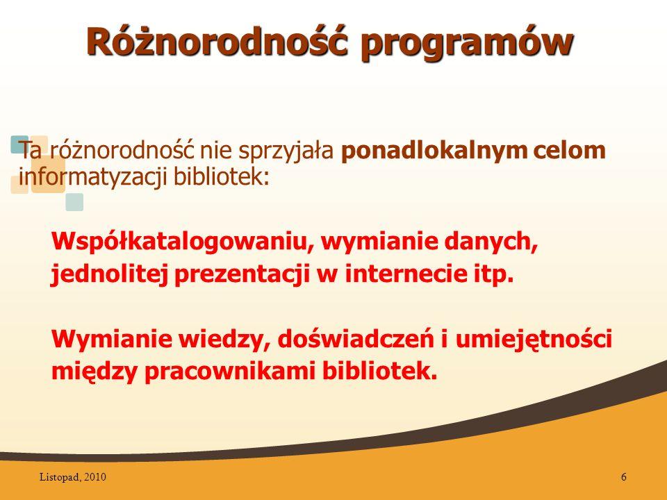 Współpraca bibliotek DZB Spotkania grup tematycznych Coroczne Konferencje Listopad, 201037