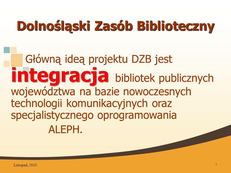 Dolnośląski Zasób Biblioteczny integracja Główną ideą projektu DZB jest integracja bibliotek publicznych województwa na bazie nowoczesnych technologii komunikacyjnych oraz specjalistycznego oprogramowania ALEPH.