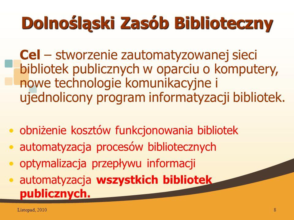 Dolnośląski Zasób Biblioteczny Cel – stworzenie zautomatyzowanej sieci bibliotek publicznych w oparciu o komputery, nowe technologie komunikacyjne i ujednolicony program informatyzacji bibliotek.