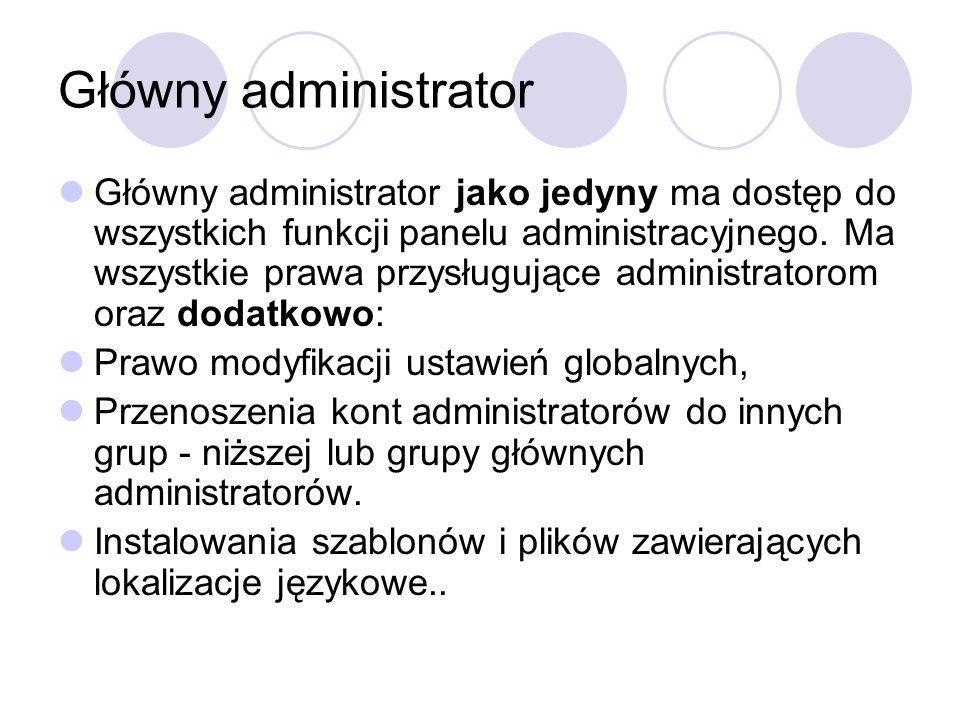 Główny administrator Główny administrator jako jedyny ma dostęp do wszystkich funkcji panelu administracyjnego. Ma wszystkie prawa przysługujące admin