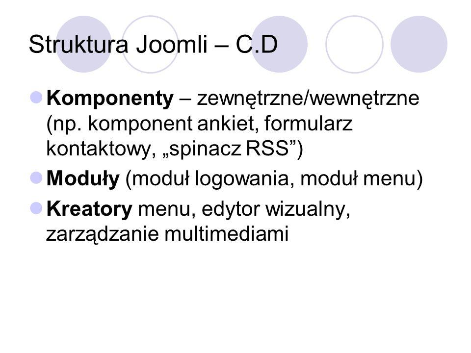 Struktura Joomli – C.D Komponenty – zewnętrzne/wewnętrzne (np. komponent ankiet, formularz kontaktowy, spinacz RSS) Moduły (moduł logowania, moduł men