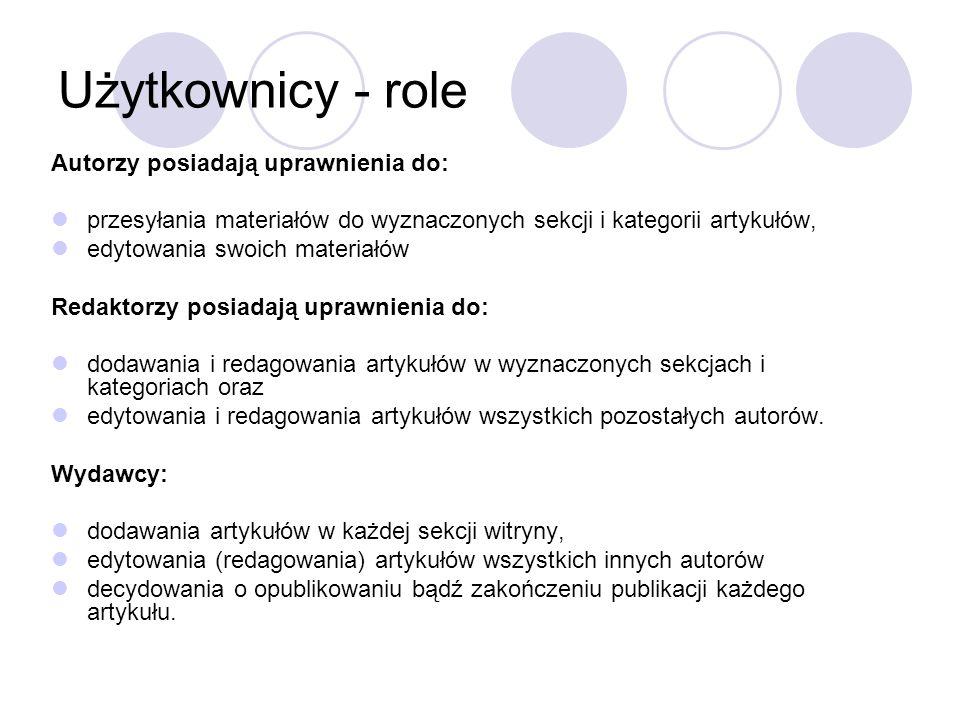 Użytkownicy - role Autorzy posiadają uprawnienia do: przesyłania materiałów do wyznaczonych sekcji i kategorii artykułów, edytowania swoich materiałów