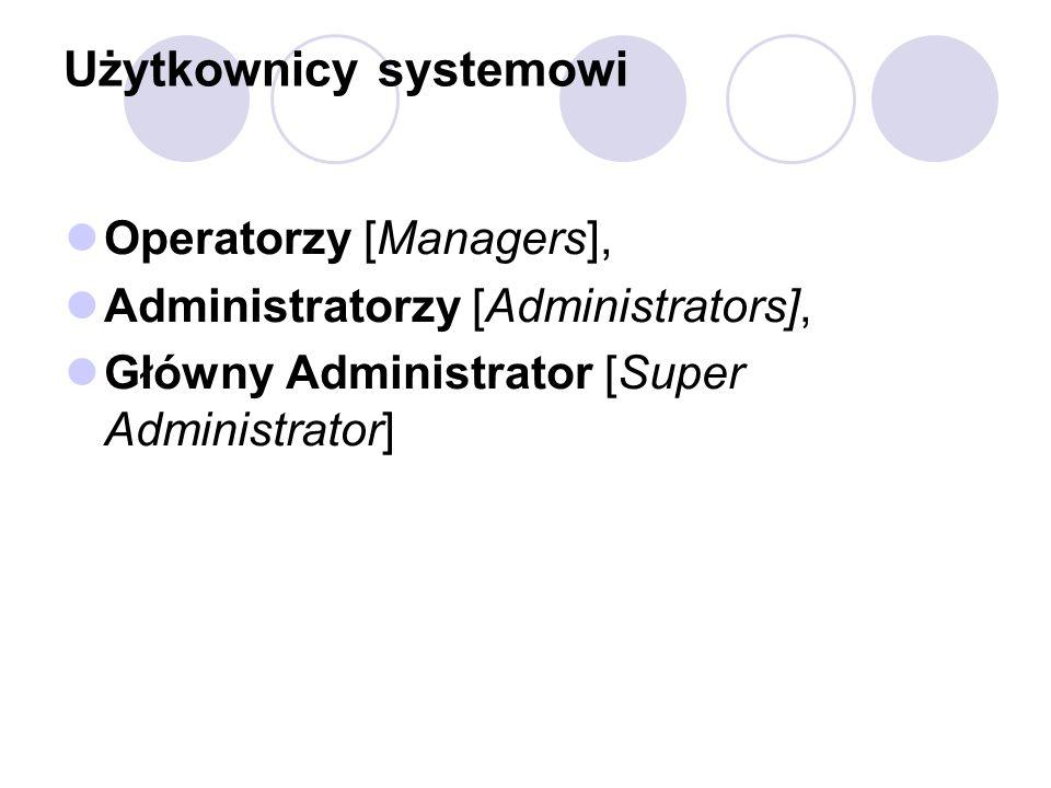 Użytkownicy systemowi Operatorzy [Managers], Administratorzy [Administrators], Główny Administrator [Super Administrator]