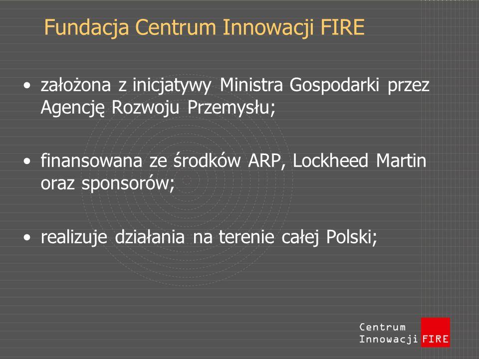 Fundacja Centrum Innowacji FIRE założona z inicjatywy Ministra Gospodarki przez Agencję Rozwoju Przemysłu; finansowana ze środków ARP, Lockheed Martin oraz sponsorów; realizuje działania na terenie całej Polski;