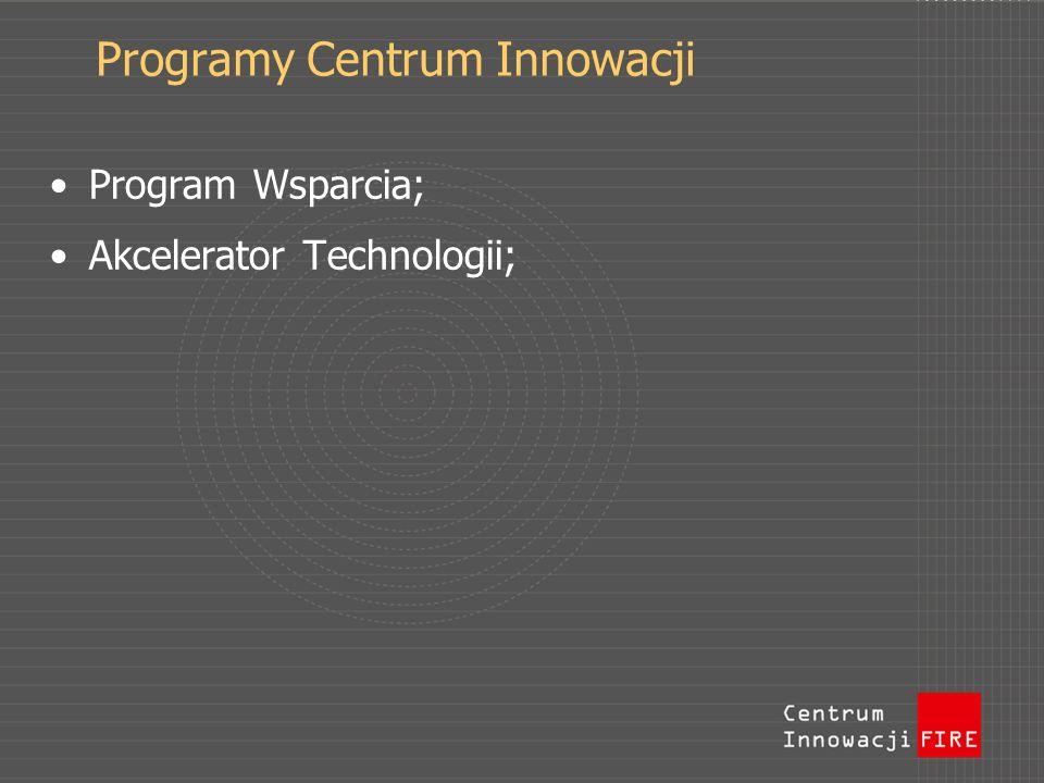 Programy Centrum Innowacji Program Wsparcia; Akcelerator Technologii;