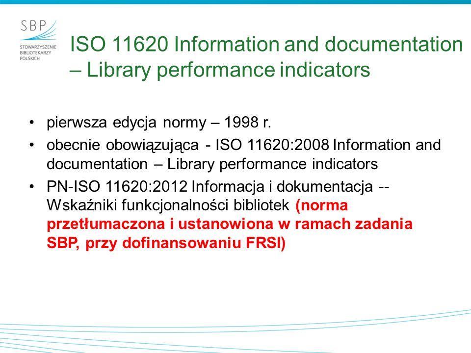 ISO 11620 Information and documentation – Library performance indicators pierwsza edycja normy – 1998 r. obecnie obowiązująca - ISO 11620:2008 Informa