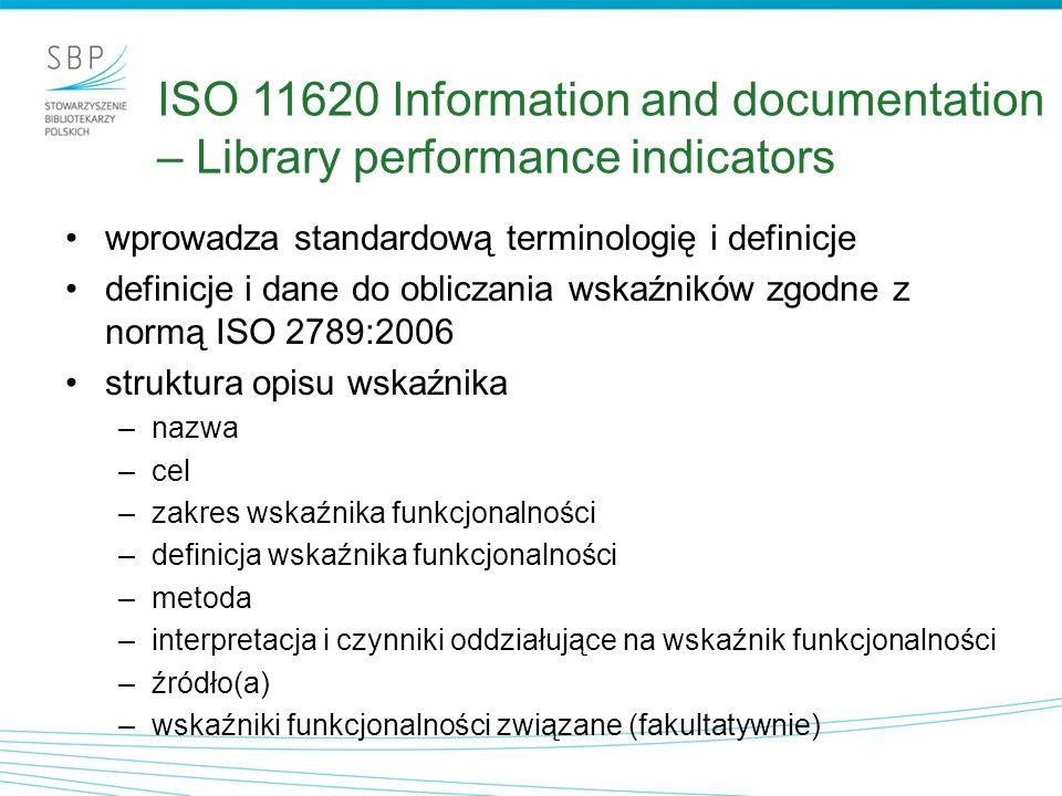 ISO 11620 Information and documentation – Library performance indicators wprowadza standardową terminologię i definicje definicje i dane do obliczania
