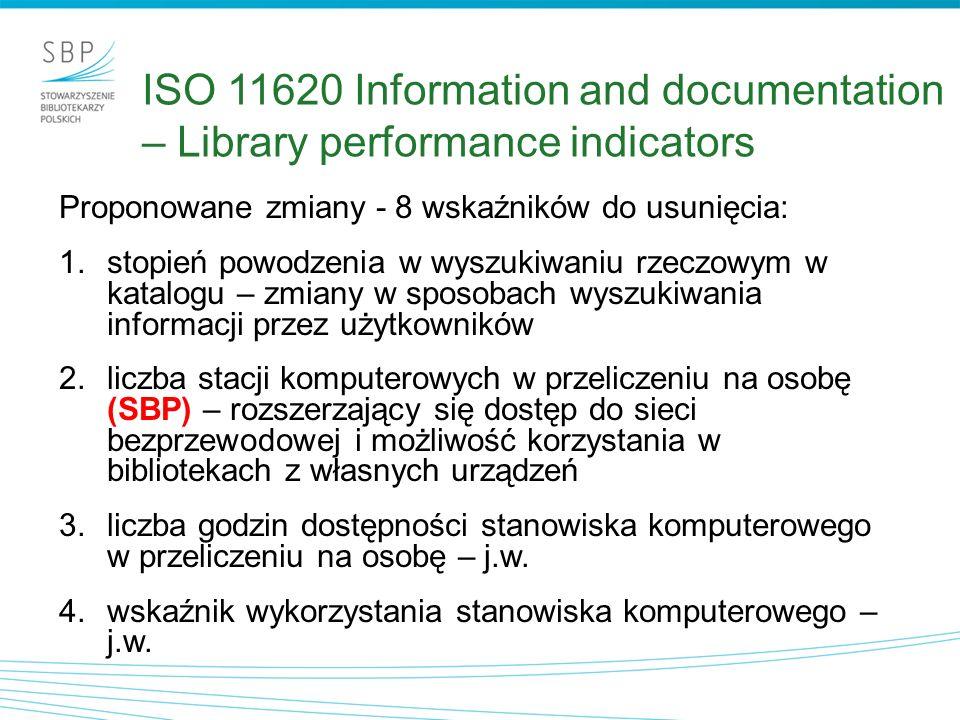 Proponowane zmiany - 8 wskaźników do usunięcia: 1.stopień powodzenia w wyszukiwaniu rzeczowym w katalogu – zmiany w sposobach wyszukiwania informacji