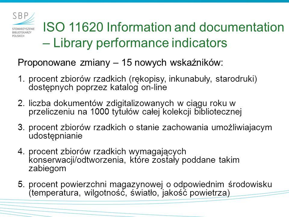 Proponowane zmiany – 15 nowych wskaźników: 1.procent zbiorów rzadkich (rękopisy, inkunabuły, starodruki) dostępnych poprzez katalog on-line 2.liczba d
