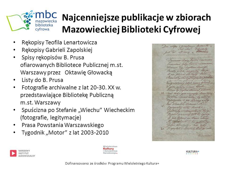 Powiększanie zasobów cyfrowych tematycznie związanych z Mazowszem Współpraca z mazowieckimi instytucjami kultury w zakresie pozyskiwania materiałów do digitalizacji i publikowania w zasobach Mazowieckiej Biblioteki Cyfrowej Dofinansowano ze środków Programu Wieloletniego Kultura+ Plany Mazowieckiej Biblioteki Cyfrowej
